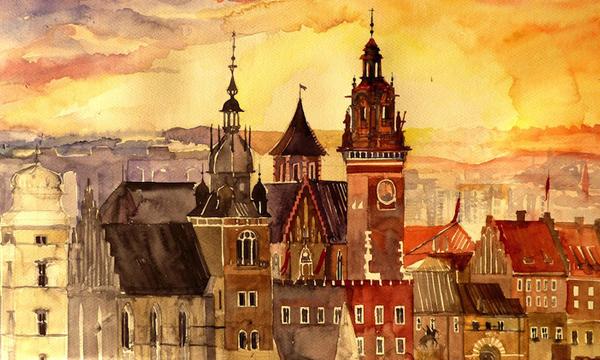 ońska欧洲建筑水彩画