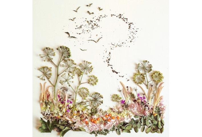 花瓣枝叶竟能组合出可爱动物!
