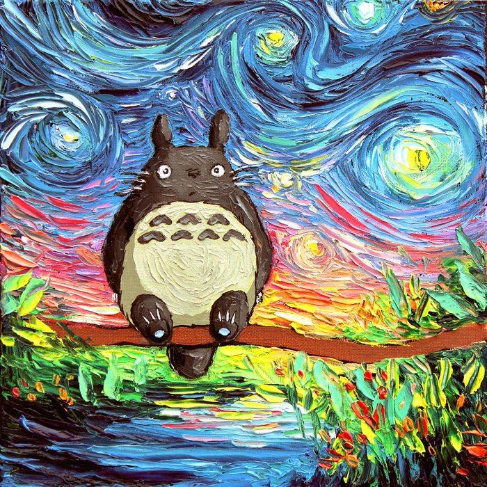當龍貓、史努比闖進梵谷名畫《星夜》中! 美國藝術家Aja Kusick別具巧思的創意繪畫