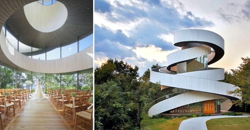 用緞帶打造一個禮拜堂 日本內海的度假村的純白建築
